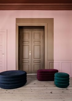 Large Round Pouf in Bordeaux design by Ferm Living Interior Paint, Modern Interior, Interior Doors, Room Interior, My Living Room, Living Room Decor, Color Inspiration, Interior Inspiration, Colorful Interiors