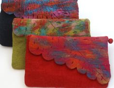 Nuno Felted Wool Leaf Clutch Bag One-Of-A-Kind Handmade