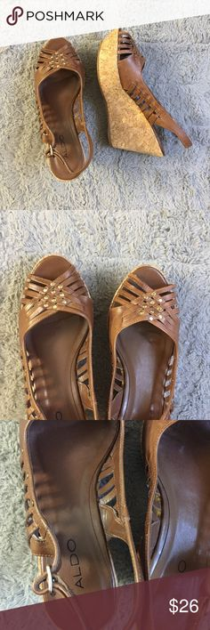 Aldo brown women platform wedge shoes size 9 It's in like new condition. Worn only once. No flaws or imperfections. True to size. Size is 9. Ask if have any questions. Aldo Shoes Wedges