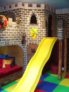 Interesting to build - two sets of standard or full bunks, castle decor, slide down the middle for quick escapes.