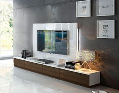Fenicia Contemporary 4 Drawer TV Unit and Back Panel with Lighting