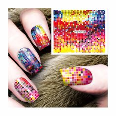 ZKO 1 Sheet Water Transfer Foils Nail Art Sticker Full Colorful Lattice Design Water Decals Nails Decorations Tools Sticker 156