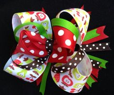 Large School Day Stacked Bow Red green & by TheOneStopBowShop, $12.00