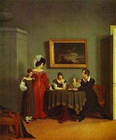 Self Portrait With Family Detail 1830 Count Feodor Tolstoy