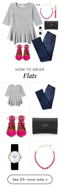 """""""Untitled #309"""" by jlmurray411 on Polyvore featuring Kate Spade, Rebecca Taylor, Aquazzura, Christian Dior, Kendra Scott, 7 For All Mankind, Stila, women's clothing, women and female"""