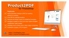 #Product2PDF for Prestashop This #module allows you to generate pdf of selected #product at #frontend. You can perform the following: Generrate PDF for each separate product! Show all product's data in one PDF! You want to increase your sales? Just generate PDF catalog with the some products and send it to your #customers and your sales will increase!!!