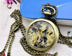 Round bronze pocket watch necklaceV70 by XsisterJewelry on Etsy, $6.99