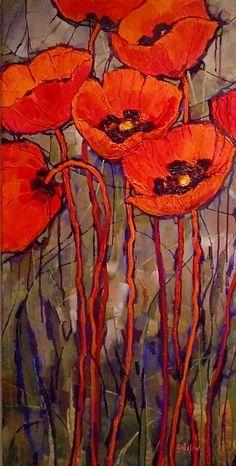 Oriental Red, 10129 by Carol Nelson Acrylic ~ 36 x 18