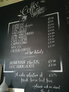 Hot drinks black board hand drawn for local cafe Jika Jika in Bath. One of four large boards. x