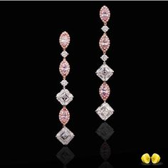 Delicate and elegant, these fancy pink diamond earrings with white diamonds accentuating the pinks are captivating! At #NovelCollectionAsia we only work with the finest natural fancy color diamonds.#NovelCollection #PinkDiamond #DiamondEarrings #Diamonds