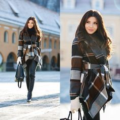 Embracing winter in a plaid blanket coat today on my blog: http://themysteriousgirl.ro/2016/01/mountain-view/