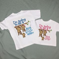 b3e4e43914 I'm Going to Be A Big Brother Again, Big Sister Shirt set of 2, Sibling  Shirt, Personalized Tshirt with Cute Monkeys 01202014f