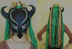 I think this was the second paper mache tribal mask that I sculpted and sold online. Made with paper mache, painted with acrylic paint, the hair consist. Paper Mache Mask, Paper Mask, Masks, Clay, Costumes, Crafts, Inspiration, Dragons, Industrial