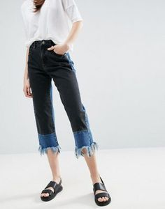 ASOS Contrast Laid On Straight Leg Jeans with Raw Hem
