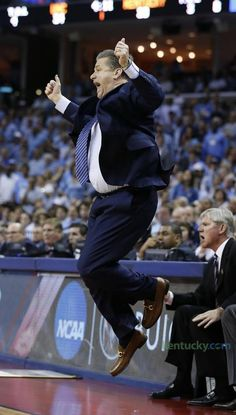 Kentucky Coach John Calipari got air as he was upset with a foul call during the Cats' game against North Carolina.