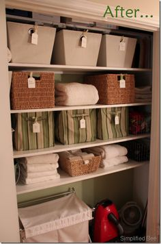 Using bins to organize the linen closet