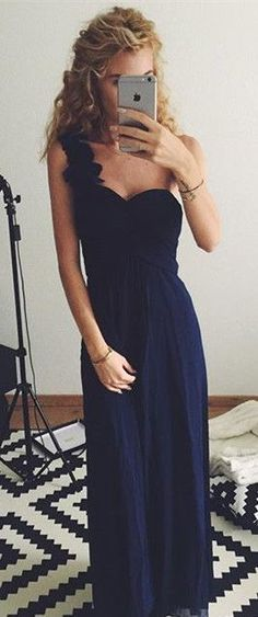 Navy Blue One Shoulder Chiffon Padded Evening Dress.Prom Dress Long ,Dress for Party