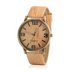 Imitation Wood Leather Band WristWatch Fashion Simple Casual Womens Watchs -- Visit the image link more details.