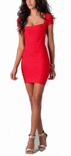 Celebritystyle red sweetheartneck bodycon bandage dress