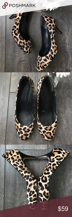 "Cole Haan Nike Air leopard calf hair heels VGUC, only minor wear, no flaws, 3"" heel height, almond toe, calf hair Cole Haan Shoes Heels"