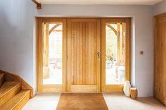 Solid Oak Door With Glazed Sidelights Solid Oak Doors, Oak Front Door, Front Doors With Windows, House Front Door, Front Porch, Porch Doors, External Doors, Contemporary Doors, Interior Barn Doors