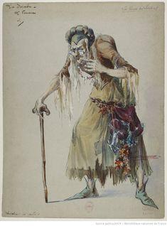 "Costume design by Charles Bétout for the witch, in ""La ronde des saisons"" by Henri Büsser Samuel Beckett, Character Drawing, Character Design, August Strindberg, Costume Design Sketch, Historical Costume, Ballet, Illustration, Warriors"