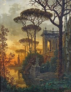 """🎨 Italian Palace at dusk, 1893 👨‍🎨 Ferdinand Knab (Jun 12 Nov 3 was a German painter. 🌍 Beauty in Art 🎨"" Fantasy Places, Fantasy World, Fantasy Art, Fantasy Landscape, Landscape Art, Beautiful Paintings, Concept Art, Scenery, Illustration Art"