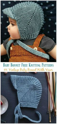 Vintage Baby Bonnet With Visor Knitting Free Pattern - Baby .-Vintage Baby Bonnet With Visor Knitting Free Pattern – Baby Bonnet Hat Free Knitting Patterns Vintage Baby Bonnet With Visor Knitting Free Pattern – Baby Bonnet Hat Free Knitting Patterns - Baby Boy Hats, Beanie Babies, Knit Baby Hats, Knit Baby Dress, Knitted Baby Clothes, Crochet Baby Bonnet, Crochet Hats, Crochet Beanie, Crochet Baby Boys