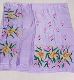 Saree Painting Designs, Fabric Paint Designs, Fabric Design, Hand Painted Sarees, Hand Painted Fabric, Painted Silk, Embroidery Suits Punjabi, Color Magic, Kurti Designs Party Wear