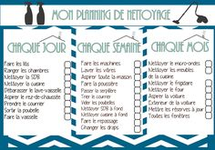 Cleaning List / Cleaning Schedule / Planning de Nettoyage…