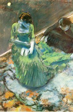 1892 - Avant le lever du rideau. 51x34 cm Connecticut, Wadsworth Atheneum Hartford. Edgar Degas