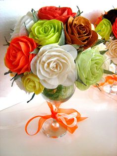 Paper Roses in glass  wedding table decor bridal by flower4you