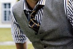 Stripe Shirt worn in perfect style with a vest and tie... I Like It! o;P Haha!