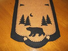 Primitive Black Bear and Moon Table Runner  w/FS