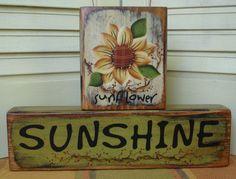 Primitive Painted Blocks   Primitive Sunflower Sunshine Summer Block Shelf Sitter Hand Painted ...