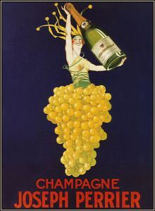 Champagne Joseph Perrier poster by J. French champagne poster features a woman in a yellow grape skirt holding up a large bottle of champagne against a blue background. Posters Vintage, Vintage Advertising Posters, Art Deco Posters, Vintage Advertisements, French Posters, Modern Posters, Italian Posters, Retro Posters, Vintage Prints