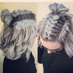 """45 Likes, 4 Comments - 5th Ave Hair Lounge (@5th_ave_hairlounge) on Instagram: """"#love #glittery #glitterhair #beautiful #hairstyles #style #christmashair #seflie #instadaily…"""""""