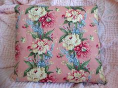 Gorgeous PILLOW COVER with vintage floral print of peonies and delphinium. Made from thick and durable textured canvas.  Colors: Medium rose pink background with flowers in deep rose, butter yellow, taupe, gold, cream and three shades of blue. Leaves and foliage are 3 soft to medium tones of green.  This PILLOW COVER measures: 18 x 18 Also available in a 14x 22   SHIPPING TO CANADA AND OTHER COUNTRIES: Special arrangements can be made for shipping. PLEASE CONTACT ME.  Pillow is unfinished in…
