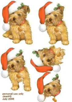 Fluffy dog with his Santa hat 3D decoupage