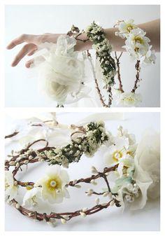 Ivory bridal Flower crown Festival wreath Rustic bridal floral crown circlet boho hippie crown Woodland wedding  elven flower headband MUSES
