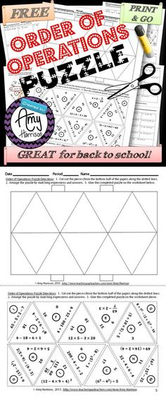 Order of Operations Triangle Matching Puzzle Try this FREE order of operations puzzle that is great for back to school in grades Math Teacher, Math Classroom, Maths, Teaching Math, Math Resources, Math Activities, Math Games, Sixth Grade Math, Order Of Operations