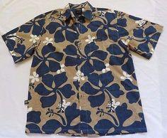 Te Mana Tahiti Mens Sz L Blue Taupe Hawaiian Aloha Shirt Hibiscus Cotton New