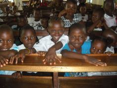 Little ones at church in Sierra Leone...I spy Aminata & Ibrahim!