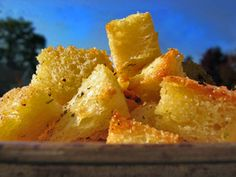 Make these delicious croutons to add a little crunch to soups or salads. 1 Loaf  Texas Toast Bread 1 lb butter 2½ tablespoons cajun seasoning ½ cup finely chopped garlic Preheat oven to 350°. Trim …