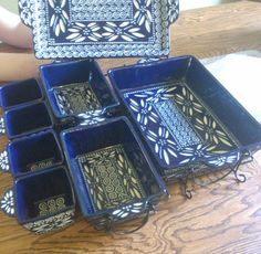 20 Piece Old World Carved Temp tations Hand Crafted Stoneware Cobalt Blue New | eBay
