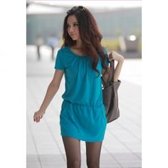 $6.38 Preppy Style Solid Color Pockets Design Elastic Waist Short Sleeves Scoop Neck Dress For Women