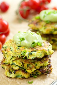 Zucchini Fritters with Avocado Crema (substitute a flax egg) | GI 365