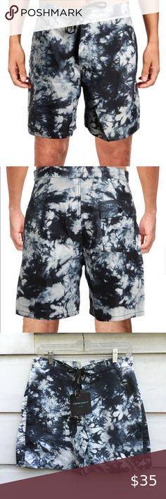 Nanquan Men Quick Dry Drawstring Print Beach Shorts Boardshort Swim Trunk
