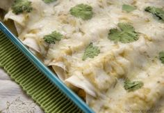 creamy chicken enchiladas- I used corn tortillias, I like them more for this than flour ones.