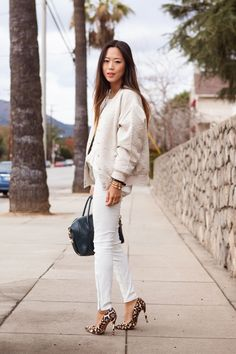 Winter Whites | Song of Style  Schutz leopard spike pumps